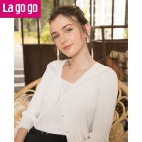 Lagogo/拉谷谷2019春季新款直筒纯色七分袖V领针织衫