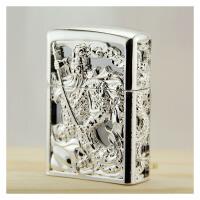 煤油打火机 财神关公镂空银色铜制精美礼盒打火机