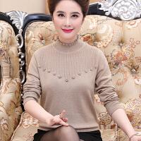 中老年女秋冬装打底针织衫45岁妈妈加厚毛衣半高领中年妇女羊毛衫