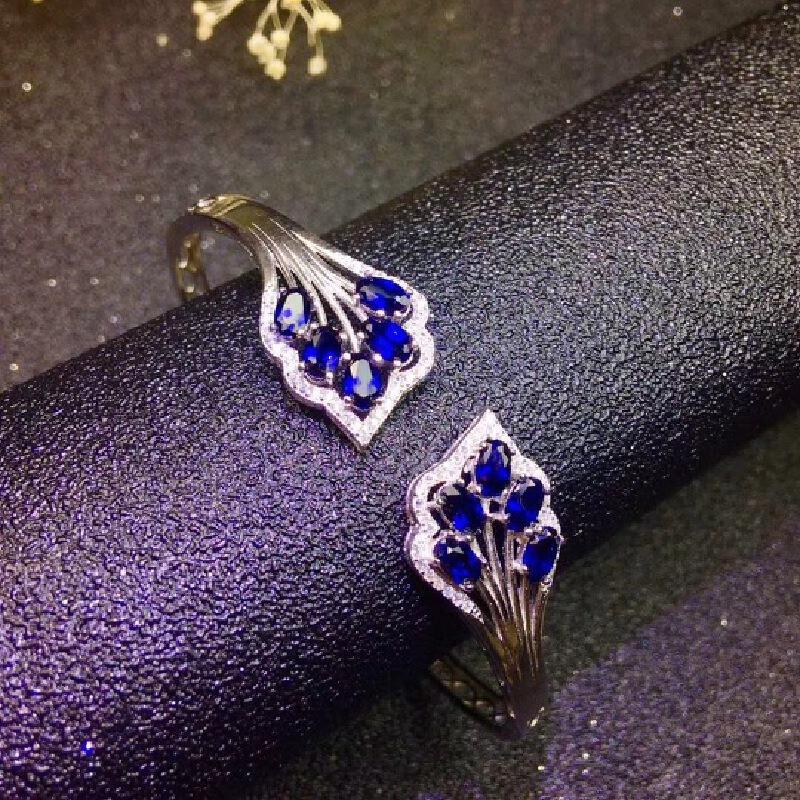 天然斯里兰卡蓝宝石手镯!精工镶嵌,全净体满火彩!