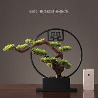 新中式仿真植物迎客松盆景室内家居客厅假花盆栽绿植桌面装饰摆件