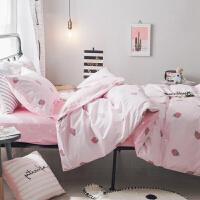 ???纯棉宿舍床单人床上用品三件套1.2米床 大学生寝室儿童被套1.5m女 高密棉 草莓