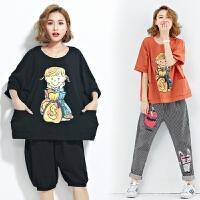 加肥大码女装胖mm200斤170夏短款上衣棉蝙蝠短袖卡通学生宽松T恤