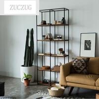 ZUCZUG北欧现代简约铁艺置物架欧式实木书架书柜客厅落地多层收纳陈列架