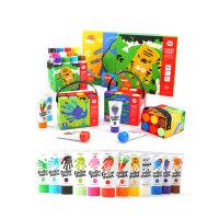 美乐 无毒可水洗儿童手指画颜料幼儿园宝宝绘画彩色涂鸦套装画册