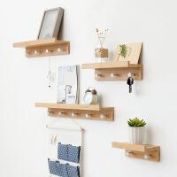 物有物语 壁挂 创意一字隔板搁板壁挂墙上实木挂钩置物架墙壁层板架