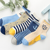男童袜子春秋冬3-5-7-9-2岁中大童男孩学生宝宝中筒儿童棉袜 海军风5双装