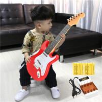 儿童大号可充电弹奏男女孩仿真尤克里里电子吉他玩具音乐初学乐器a302 独立充电版热情红电子吉他 送儿童电子手表