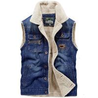 冬季加绒加厚牛仔马甲男冬季保暖多口袋背心男士大码棉衣工装外套