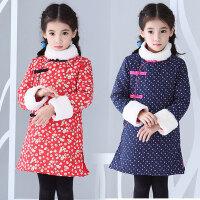 女童连衣裙冬加厚中国风全棉旗袍裙女童冬装复古手工新年款童装裙