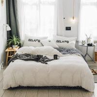 网红毛巾绣ins风四件套少女心床上珊瑚绒被套床单用品