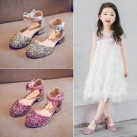女童鞋子2019新款夏季儿童时尚韩版高跟鞋女孩水晶软底演出公主鞋