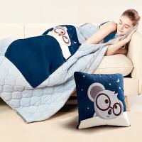 佳奥抱枕被子办公室两用毯子加厚折叠冬季