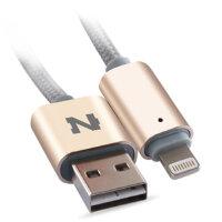 【正品包邮】诺希 NH-iP6/5S苹果手机数据线1.5米圆点带灯 银色