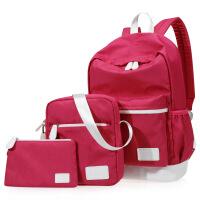 韩版书包三件套帆布双肩包女包logo一件学生背包