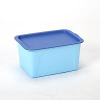塑料收纳盒有盖桌面文具玩具整理储物盒子浴室小药盒化妆品首饰盒 天蓝色()