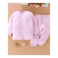 婴儿保暖内衣套装0-1-2岁加棉宝宝夹棉加厚新生儿衣服秋冬装