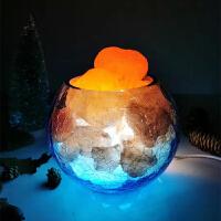 喜马拉雅水晶盐灯卧室床头香薰台灯创意小夜灯玫瑰矿石岩灯