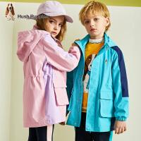 【2件5折价:261.5元】暇步士童装儿童风衣春秋装新款男童撞色拼接外套女童洋气薄上衣
