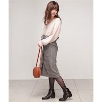女格子半身裙 高腰日系腰带裹裙打底中长裙包臀裙53X