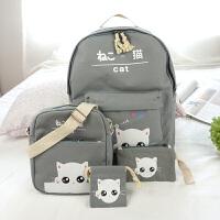 帆布书包男女初中学生双肩包韩版校园小学生五六年级猫咪休闲背包