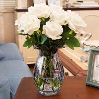 玫瑰花束花装饰花假花仿真花客厅摆设 卧室摆放花瓶套装插花玻璃 白玫瑰花瓶套装