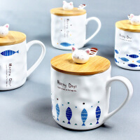 日式Zakka创意猫咪和鱼群马克陶瓷杯子卡通带勺带盖早餐牛奶水杯
