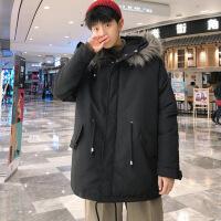 №【2019新款】冬天胖子穿的中长款大毛领棉衣男生加肥加大码宽松装连帽外套国潮