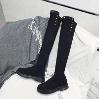 WARORWAR新品YM75-3017秋冬欧美低跟舒适铆钉女过膝长靴