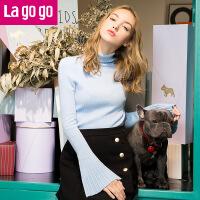 【秒杀价100】Lagogo/拉谷谷2019年秋冬新款纯色气质喇叭袖针织衫