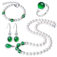 淡水珍珠项链送妈妈正圆形强光玛瑙玉髓吊坠锁骨母亲节生日礼物 7-8mm
