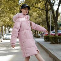 中学生冬装棉衣外套少女学院风中长款加厚韩版毛领初中高中生
