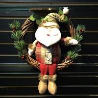 圣诞节装饰品圣诞花环老人雪人圣诞树挂件花环藤圈场景布置门挂