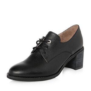 Teenmix/天美意2018春专柜同款牛皮粗跟系带鞋女单鞋6U222AM8