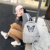双肩女包2018夏季新款大容量蝴蝶印花学生补课包旅行外出双背书包