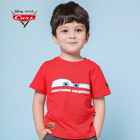 【3件1.5折价:25】迪士尼赛车总动员童装男童夏装2019春夏新品全棉短袖T恤红色