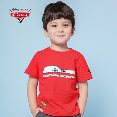 【秒杀价:25】迪士尼赛车总动员童装男童夏装2019春夏新品全棉短袖T恤红色