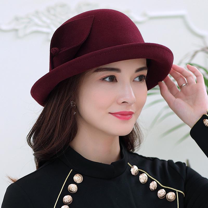 №【2019新款】帽子女秋新款韩版时尚卷边花朵礼帽女士英伦可调节羊毛呢帽  可调节