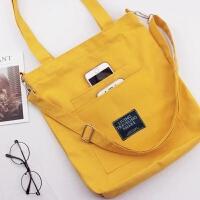 SH原创 帆布包女单肩斜挎包大容量韩国简约百搭文艺小清新手提包