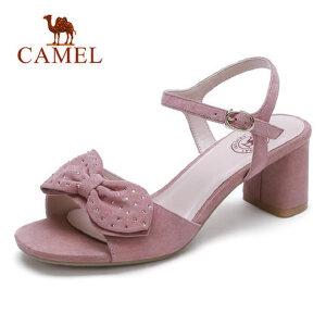 骆驼品牌凉鞋2018夏季新款粗跟高跟鞋蝴蝶结少女学生甜美时尚女鞋