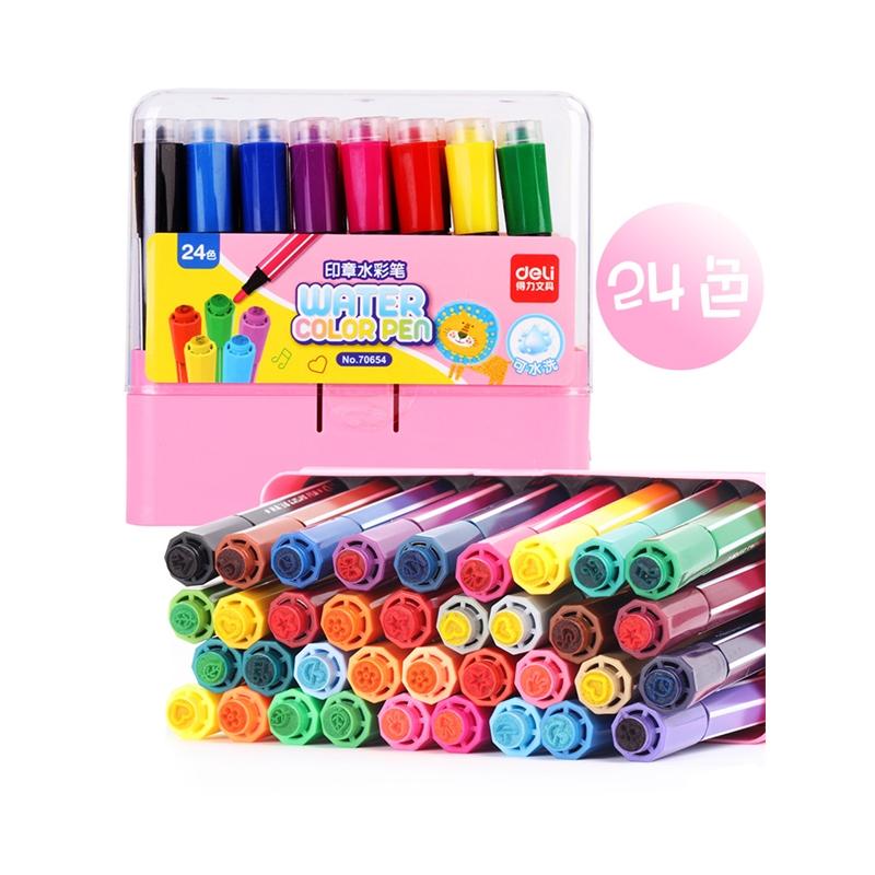 儿童绘画彩笔24色36色幼儿园画画笔水彩画笔套装初学者手绘彩色笔学生用品 印章水彩笔粗头可水洗彩笔