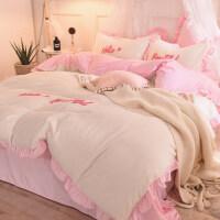 加厚保暖宝宝绒四件套双面荷叶边法兰珊瑚绒被套冬季床上用品床单