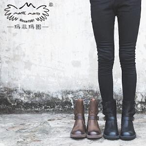 玛菲玛图女鞋秋冬新款靴子女粗跟短靴真皮侧拉链皮带扣马丁靴5751-9