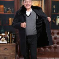 中老年爸爸羊毛大衣长款中年男士大衣加绒加厚呢外套毛呢风衣冬季