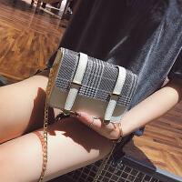 迷你小包包女2018夏季新款百搭链条格子小方包ins同款单肩斜挎包