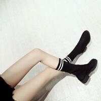 3cm平低跟过膝长筒靴黑色条纹毛线针织袜子靴套筒弹力靴高筒女靴