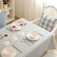 餐桌布艺美式田园欧式加厚棉格子现代茶几台盖布湖水蓝