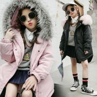 儿童棉衣2017冬季新款韩版童装外套女童蝙蝠袖棉衣中大童棉服毛领外套  SSD蝙蝠袖棉衣