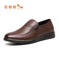 【�t蜻蜓旗�店520大促】�t蜻蜓男鞋秋季新款真皮套�_透�馍�照��b男士皮鞋爸爸鞋