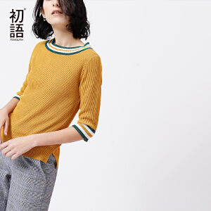 初语 2018夏季新款 慵懒风圆领修身半袖薄款针织衫女套头打底上衣